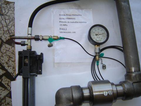 Teste hidrostatico braço hidraulico 31,5 MPa